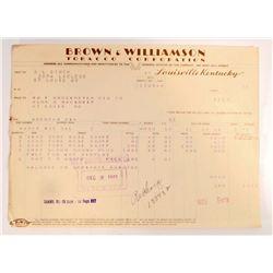 VINTAGE BROWN & WILLIAMSON TOBACCO COMPANY BILL HEADS / INVOICES