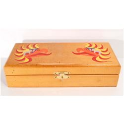 VINTAGE TRINKET / TOOL / PENCIL BOX W/ TRIBAL EAGLES PAINTED ON THE LID