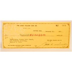 VINTAGE 1962 THE OHIO YELLOW CAB CO COMPANY CHECK