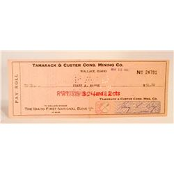 VINTAGE 1947 TAMARACK & CUSTER CONS MINING CO COMPANY CHECK