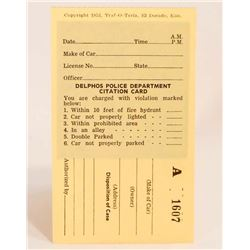 VINTAGE 1953 DELPHOS POLICE DEPARTMENT CITATION CARD