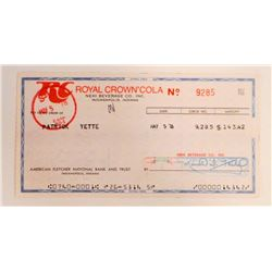 VINTAGE 1978 ROYAL CROWN COLA COMPANY CHECK