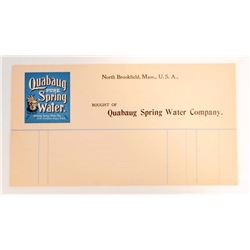 VINTAGE QUABAUG PURE SPRING WATER ADVERTISING BILL HEAD