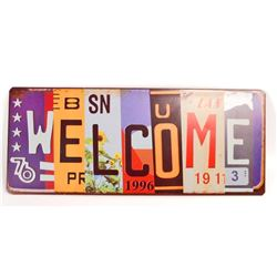 WELCOME LICENSE PLATE METAL SIGN