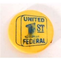 VINTAGE UNITED 1ST FEDERAL BANK ADVERTISING GOLF MARKER