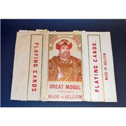 ANTIQUE GREAT MOGUL PLAYING CARDS LABEL / WRAPPER