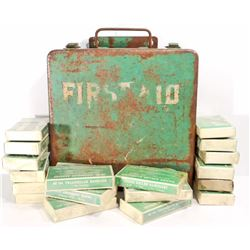 VINTAGE GREEN METAL FIRST AID BOX W/ CONTENTS - WALL MOUNT