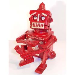 CAST IRON ROBOT MECHANICAL BANK