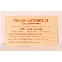 VINTAGE 1924 REWARD POSTCARD FOR STOLEN 1923 BUICK TOURING CAR