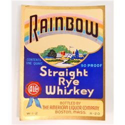 VINTAGE RAINBOW STRAIGHT RYE WHISKEY LABEL