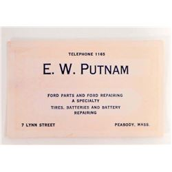 VINTAGE E.W. PUTNAM FORD PARTS BUSINESS CARD