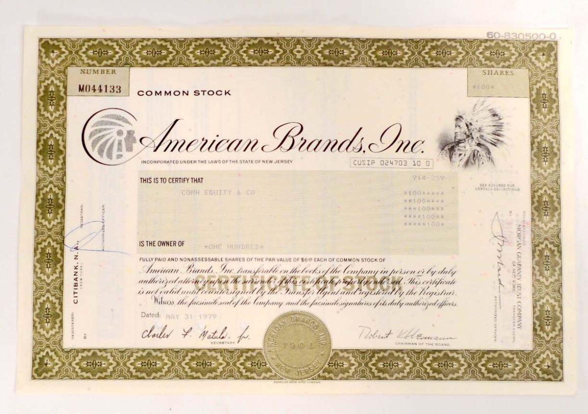 Inc Stock Certificate American Brands
