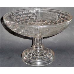 ANTIQUE C 1880S SODA LIME GLASS ETCHED PEDESTAL BOWL