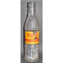 VINTAGE GLASS NEHI SODA ADVERTISING BOTTLE - 7 OZ