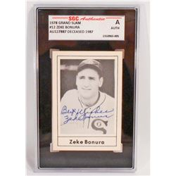 1978 GRAND SLAM ZEKE BONURA #12 AUTOGRAPHED BASEBALL CARD - SGC AUTHENTIC