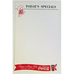 VINTAGE COCA COLA CHEF MENU SHEET