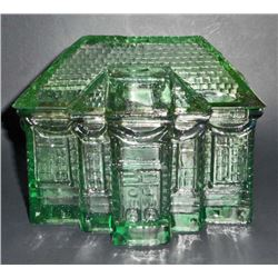 """GREEN DEPRESSION INSPIRED GLASS HOUSE BOX - 5"""" WIDE"""