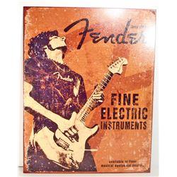 FENDER GUITARS METAL ADVERTISING SIGN - 12.5X16