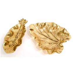 LOT OF 2 BRASS LEAF DISHES - BOTH ENGRAVED ON BOTTOM