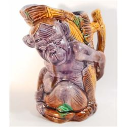 """MONKEY FIGURAL MAJOLICA INSPIRED PITCHER - 6.5"""" TALL"""