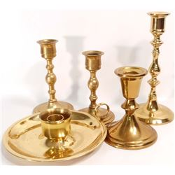 LOT OF 5 VINTAGE BRASS CANDLE HOLDERS