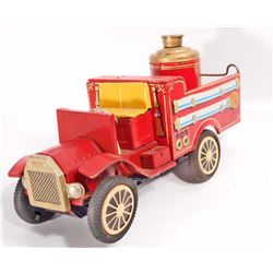 VINTAGE C 1960S JAPAN TIN LITHO FRICTION FIRE TRUCK TOY