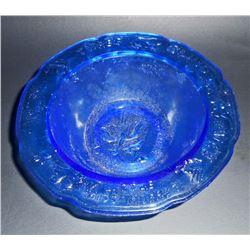 "COBALT BLUE GLASS 3 BLIND MICE EMBOSSED CHILDS BOWL - 6"" DIAM"