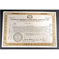 VINTAGE WALTHAM PRECISION INSTRUMENT STOCK CERTIFICATE