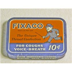 VINTAGE FIXACO THROAT CONFECTIONS ADVERTISING TIN