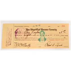 VINTAGE 1932 ROAN COUNTY SHERIFF CHECK