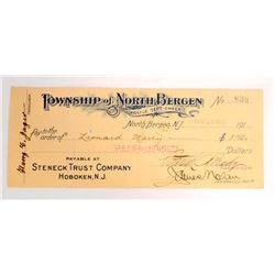 1919/20 NORTH BERGEN, NJ POLICE DEPT CHECK
