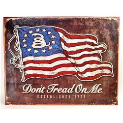 DONT TREAD ON ME FLAG METAL SIGN - 12.5X16