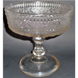 ANTIQUE C 1880S STIPPLED FORGET ME NOT PEDESTAL BOWL BY FINDLAY GLASS