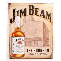 JIM BEAM METAL ADVERTISING SIGN - 12.5X16