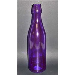 "PURPLE ART GLASS BOTTLE - 10"" TALL"