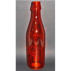 "ORANGE ART GLASS BOTTLE - 10"" TALL"
