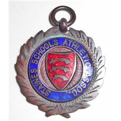 ANTIQUE 1914 GIRLS TRACK ENAMELED MEDAL