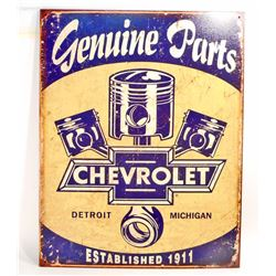 CHEVROLET GENUINE PARTS METAL ADVERTISING SIGN - 12.5X16