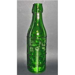"GREEN ART GLASS BOTTLE - 10"" TALL"
