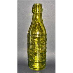 """GREEN ART GLASS BOTTLE - 10"""" TALL"""