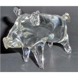"VINTAGE BLOWN ART GLASS PIG FIGURINE - 4"" LONG"