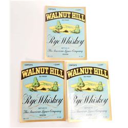 LOT OF 3 VINTAGE WALNUT HILL WHISKEY LABELS