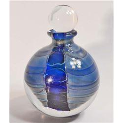 "ART GLASS PERFUME BOTTLE W/ STOPPER - 4.5"" TALL"