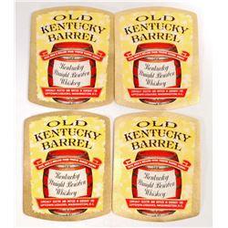 LOT OF 4 VINTAGE OLD KENTUCKY BARREL KENTUCKY BOURBON WHISKEY LABELS