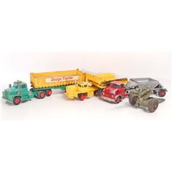 LOT OF 3 VINTAGE KING SIZE MATCHBOX TOY TRUCKS AND A CANNON