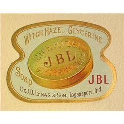 EARLY JB LYNAS WITCH HAZEL GLYCERINE SOAP ADVERTISING LABEL