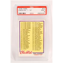 1978 TOPPS CHECKLIST 1-121 #74 BASEBALL CARD- PSA MINT 9