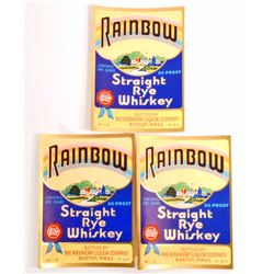 LOT OF 3 VINTAGE RAINBOW RYE WHISKEY LABELS
