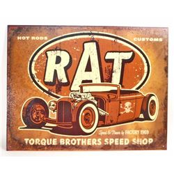 RAT TORQUE BROTHERS SPEED SHOP METAL ADVERTISING SIGN - 12.5X16