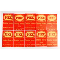LOT OF 10 VINTAGE PIKE TOBACCO LABELS